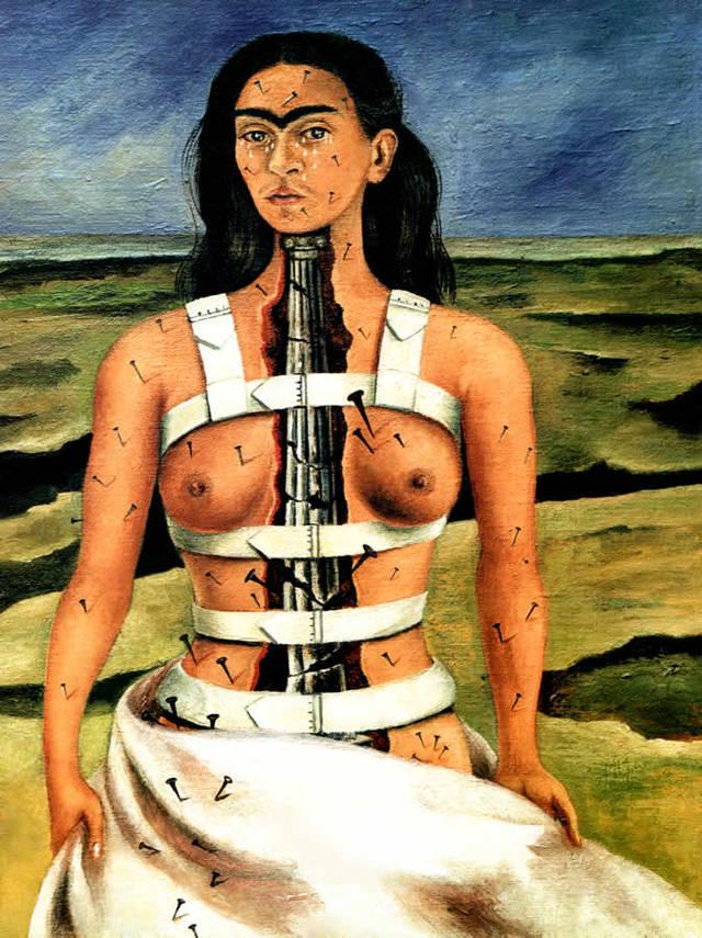 frida-kahlo-la-colonne-brisee kahlo dans une oeuvre et une histoire